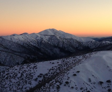 Sunset over Mount Feathertop in Winter