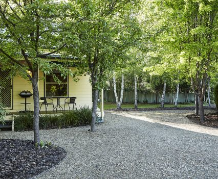 Parking and gardens at the front of Alpine Valley Birch Two Bedroom Cottage