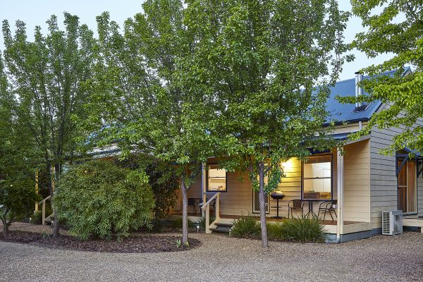 Alpine Valley Birch Two Bedroom Cottage at twilight