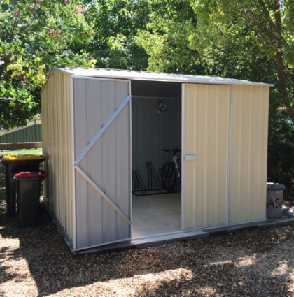 We provide a storage shed for bikes, skis, or other sporting equipment